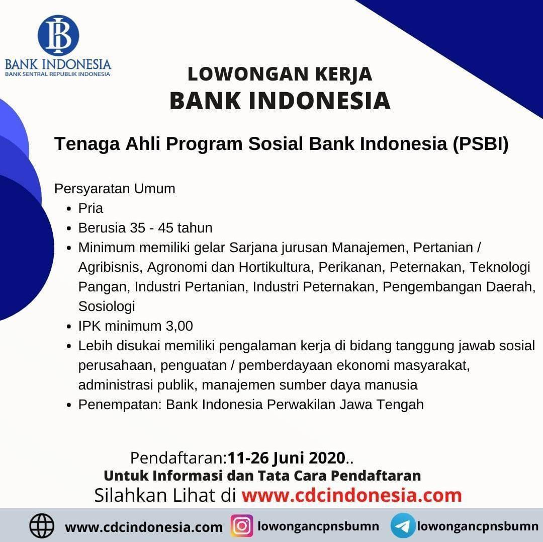 INFOMINA Lowongan Kerja Perikanan di Bank Indonesia